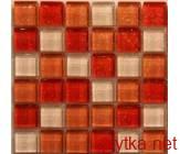 Мозаика T-MOS M02 WHITE RED, 30х30 красный 300x300x8 глянцевая белый