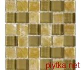 Мозаика T-MOS GF01 SUNGLASS+ONYX, 30х30 коричневый 300x300x8 глянцевая