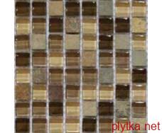 Мозаика T-MOS BEIGE LINEAR, 30х30 микс 300x300x8 глянцевая коричневый